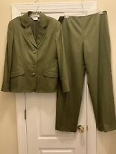 CARLISLE Green Wool Blend Pant Suit Jacket Size 14 Pant Size 16