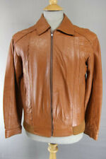 AMAZING VINTAGE 1980s TAN LEATHER BOMBER JACKET 38 INCH