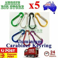 5X Carabiner Clip Key Ring Holder Chain Cable Hiking Hook Lock Camping D Shape
