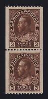 Canada Sc #134 (1921) 3c brown Admiral COIL PAIR Mint VF NH