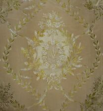Antique 19th French Laurel Torch Silk Brocade Fabric ~Yellow Green~ Aged Patina