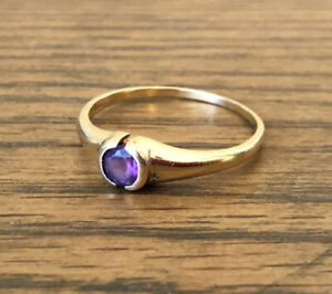 18ct Gold Ring With Amethyst Size U