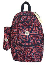 ROXY Backpack School Bag Matching Pencil Case Logo Pattern NEW