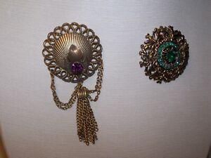 2 Suit Jacket Pins - Green Stone, Purple Stone