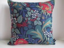 Liberty Morris Harriet Blue Vintage Floral & Teal Velvet Fabric Cushion Cover