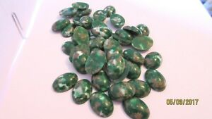 LOT OF 36 VINTAGE GREEN WHITE & GOLD FAUX STONES 18/13 MM WEST GERMANY