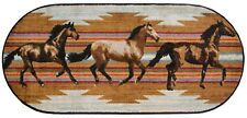 20X44 Wild Horses Rodeo Gallop Cabin Lodge Oval Kitchen Rug Mat Washable Accent