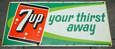 """1963 7up Your Thirst Away HTF Embossed Stout Sign 33"""" x 15"""" Soda Pop Gas Station"""