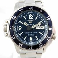SEIKO 5 SPORTS 7S36-01E0 AUTOMATIC DAY-DATE SILVER MEN'S VINTAGE WATCH JAPAN