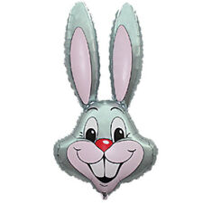 "GREY RABBIT EASTER BUNNY HEAD SUPERSHAPE 39"" FOIL BALLOON"