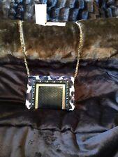 Jimmy Choo AVA Leopard Black Elaphe Leather Crossbody Shoulder Clutch Bag $1550