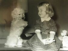 VINTAGE TOY POODLE DOG CUTE LITTLE GIRL DEC 1960 FOOTBALL CARD MID MOD OLD PHOTO