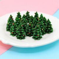 10 pcs Resin Christmas Tree Miniatures DIY Craft Making Decorations 27x18mm