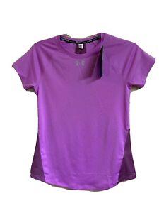 Under Armour Women Sz L Heatgear Purple Fitness Running Workout T-Shirt