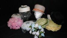 50's 60's Vintage 10 piece Estate Lot Straw Church Hats Flowers & Netting Union