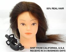 COSMETOLOGY MANNEQUIN MANIKIN TRAINING HEAD WITH 50% HUMAN HAIR COMB