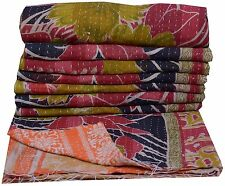 Vintage Kantha Handmade Quilt Reversible Throw Cotton Bedspread Ralli Quilted