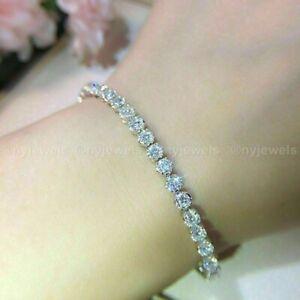 Christmas Solid 14K White Gold Diamond Tennis Bracelet 5CT Round Cut For Women's