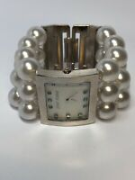 Betsey Johnson Quartz Ladies Watch Pearl Style Band - Working