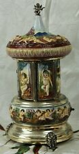 Vtg CAPODIMONTE Mechanical Musical LIPSTICK Cigarette CAROUSEL Works Perfectly!