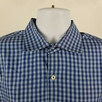 Peter Millar Mens Blue Gingham Check Dress Button Shirt Sz XL Extra Large