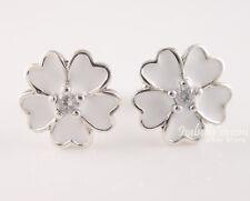 PRIMROSE Authentic PANDORA White Enamel FLOWERS Earring Studs 290569EN12 w BOX