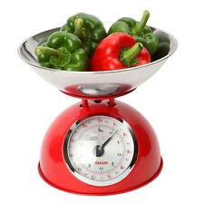 Dexam Retro Kitchen Scales In Red - 2L Stainless Steel Bowl - Weighs Up To 5Kg