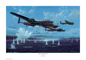 SIMON W. ATACK SIGNED PRINT. GIBSON,YOUNG AND MARTIN. DAMBUSTERS, LANCASTER, WW2