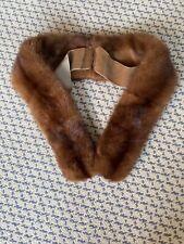 Vintage Genuine Mink Fur Scarf Stole Collar Euc Brown