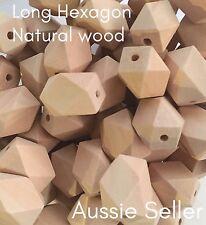 10x natural wood LONG hexagon 20mm beads geometric sensory necklace teething raw