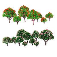 20Pcs Mini Model Flower Trees 1/75-1/500 HO Z N Scale for Diorama Landscape