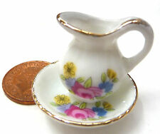 1:12 Scale Victorian Ceramic Jug & Wash Bowl Dolls House Pink Floral Motif P41