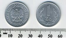 Poland 1974 - 1 Zloty Aluminum Coin - Eagle with wings open