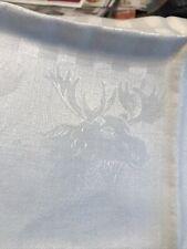 Vintage White Linen Tablecloth Farmhouse Christmas Moose Pinecones Napkins
