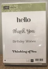 """Stampin' Up! """"Four You"""" Wood Mounted Set Hello Thank You Birthday Wishes Thinkin"""