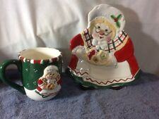 Nice Gift Gallery Fitz & Floyd Holiday Mug and Plate Set Mrs Claus Green Color