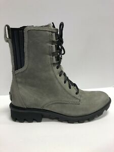 Sorel Phoenix Lace Boot Gray Leather Size 8 M Womens