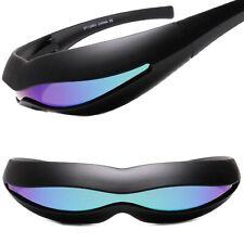 Wrap Around Green Mirrored Lens Costume Robot Cyclops Futuristic Sunglasses