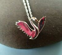 Sterling Silver Swan with Gold Vermeil Beak Detail Pendant Necklace - UK Seller