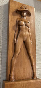 """Wood Carving Nude 9.5"""" x 4"""" x 1.25""""  Free Standing - Wall Bas-Relief SB11W"""