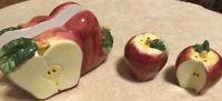 Vintage 3 Pcs Ceramic Apple Table Set of Salt & Pepper Shakers & Napkin Holder