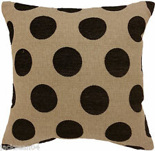 "2X CLASSIC BLACK BEIGE SPOT DOT CIRCLE CHENILLE 18"" THICK CUSHION COVERS STOPS"