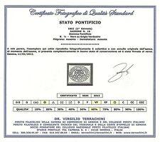Stato Pontificio 1852 - 1/2 b. grigio verdastro Sass.1b Certificato Usato ASI060