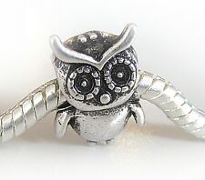 Antique Silver Plated Owl Charm Bead Fits European Bracelet / Necklace