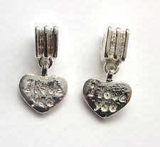 10 Tibetan Silver Heart Hanging Beads 23x12mm For European Charm Bracelet