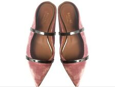 Malone Souliers Maureen Flat Pink and Charcoal Velvet Mule Size 36