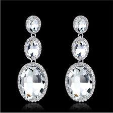 Oval Dangles Clear Austrian Rhinestone Chandelier Earring Bridal Prom Wed E8
