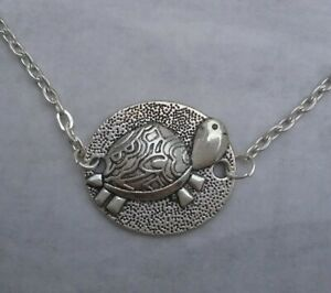 Tibetan Silver CUTE TORTOISE Pendant with Necklace - PRESENT GIFT. TURTLE.