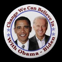 "2008 Barack Obama Joe Biden Change We Can Believe In 2 15/16"" Campaign  Button"