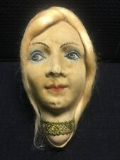 Beautiful Vintage Blonde Boudoir Doll Cloth Head Painted Face Mask Replacement